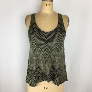 Silence + Noise Printed Tank with Mesh Detail